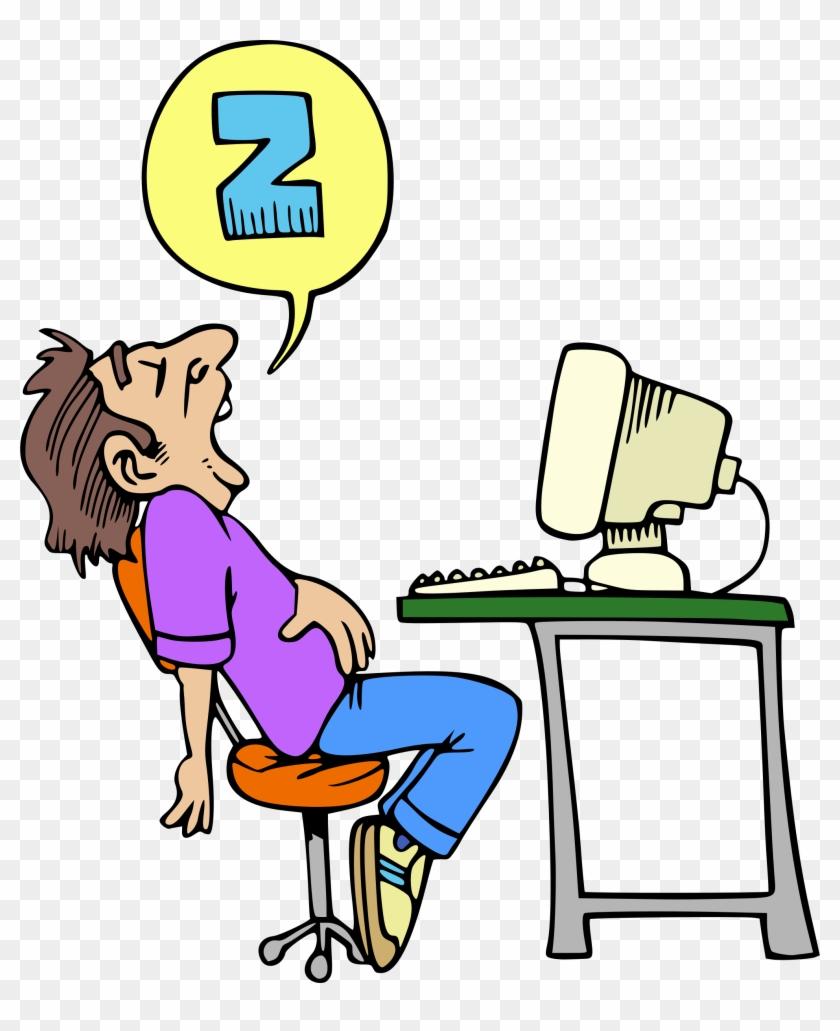 Clipart Sleeping Computer User - Sleeping At Desk Clip Art #123523