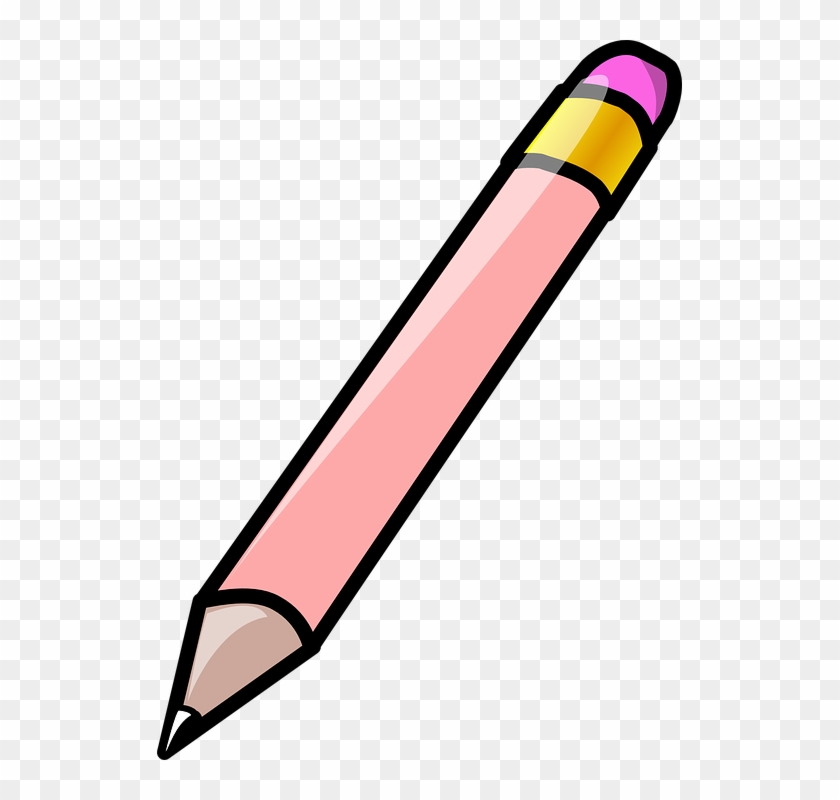 Crayon Pencil Office Paint School Tool Write - Pink Pencil Clipart #123972