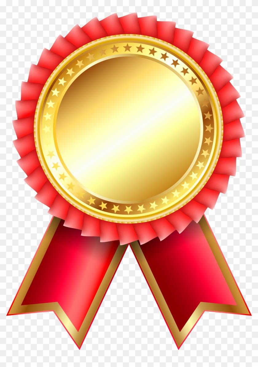 Red Award Rosette Png Clipar Image - Gold Medal Ribbon Png #124105