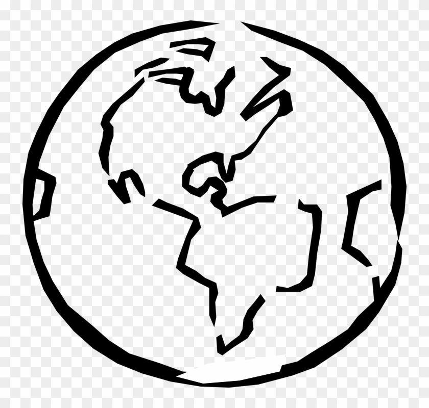Planet Earth Clipart Bumi - Earth Clipart Black And White #124924
