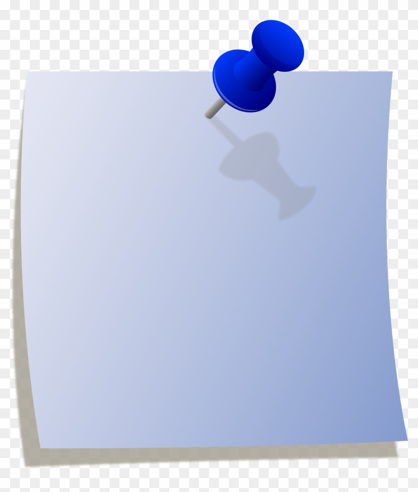 Blue Note With Thumbtack Free Clip Art - Blue Note Paper Png #125856