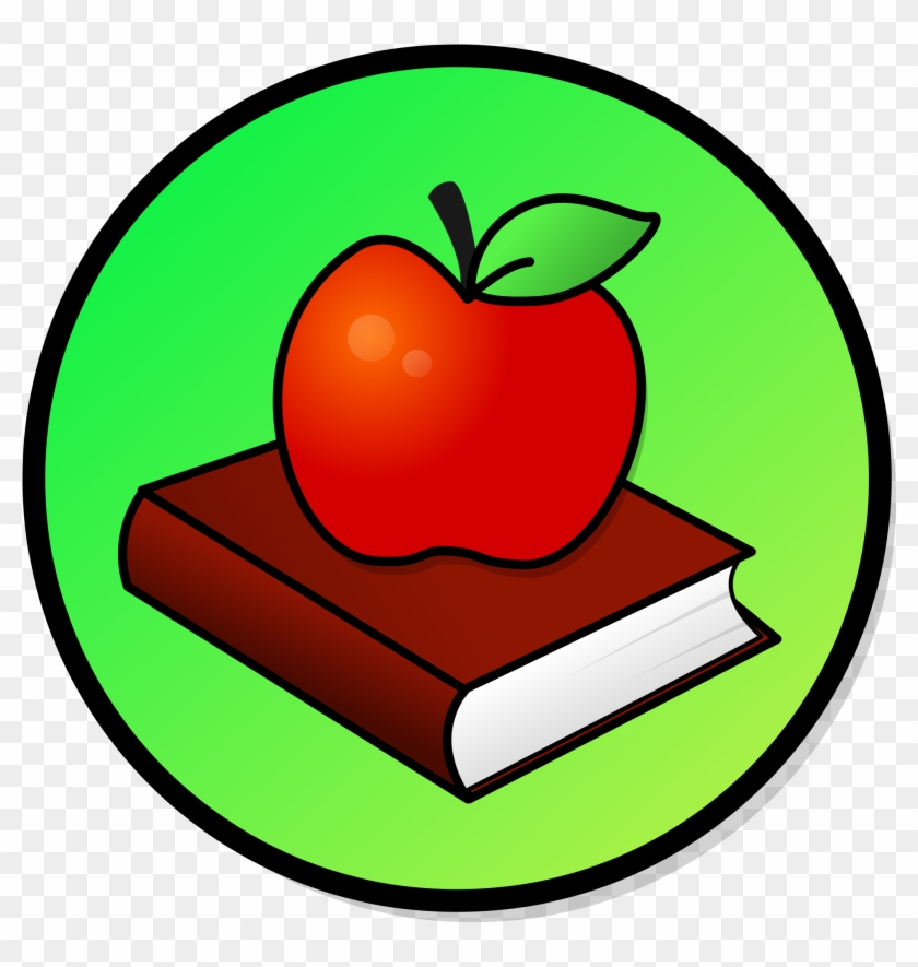 Clip Art Apple And Books File Book Svg Wikimedia Commons - Fruits Around The World #126518