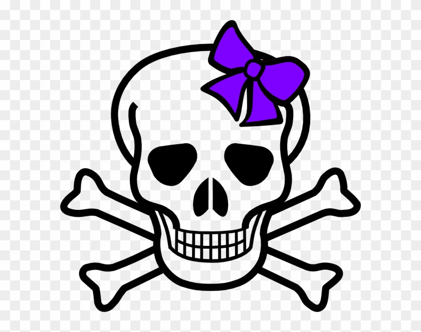 Cute Skeleton Clipart - Skull With A Bow #127690