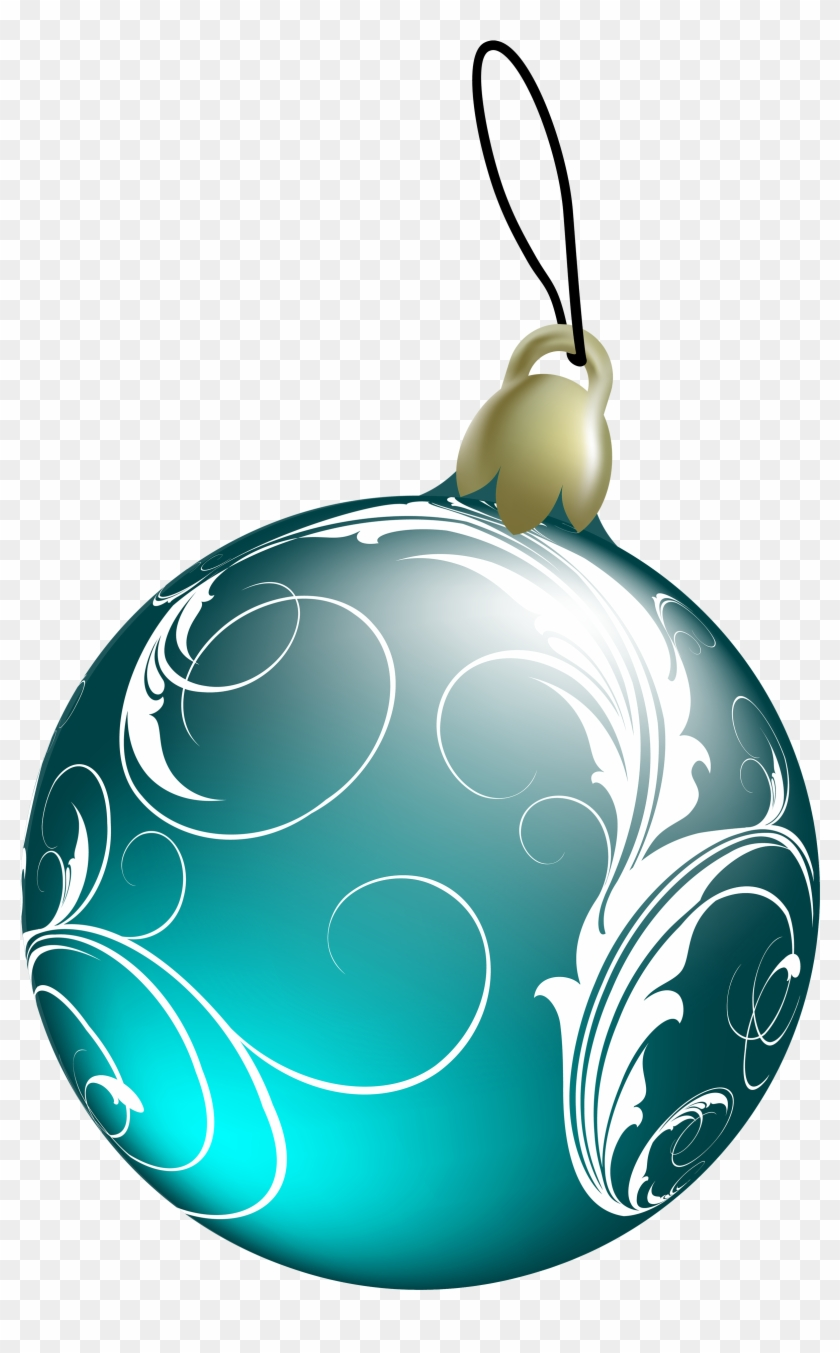 Beautiful Blue Christmas Ball Png Clipart - Green Christmas Ornaments Png #128134