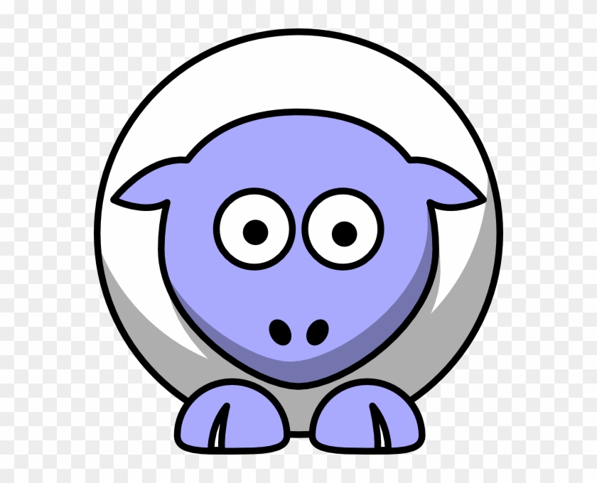 Sheep Looking Straight White With Periwinkle Face And - Cartoon Sheep #128302