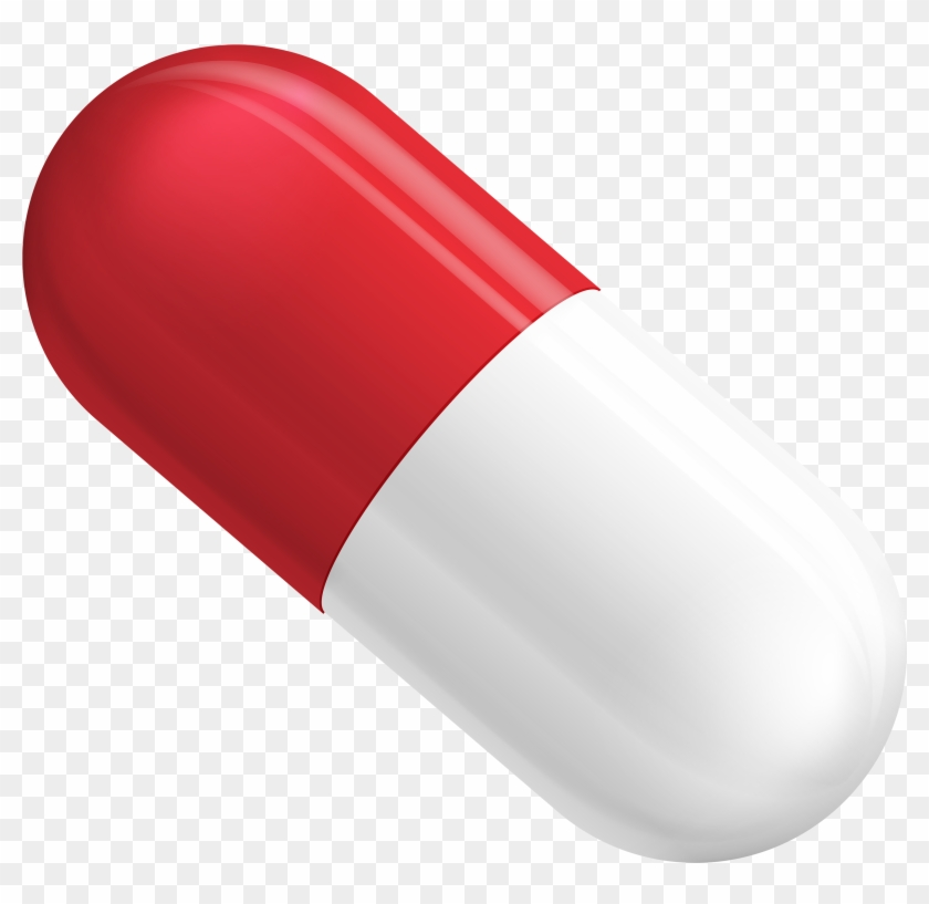 Red And White Pill Capsule Png Clipart - Red And White Pill #129177