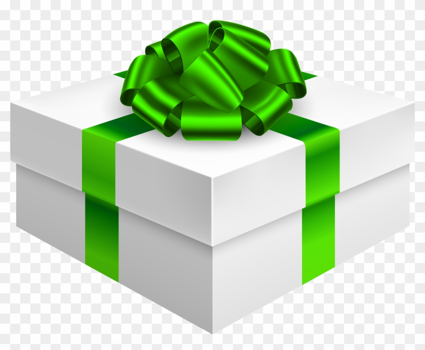 Gift Box With Bow In Green Png Clipart - Gift Box Transparent Green #129187