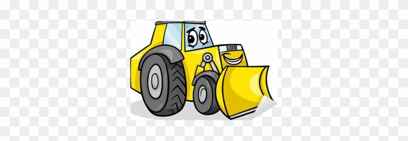 Bulldozer Character Cartoon Illustration Sticker • - Bull Dozercartoon #680911