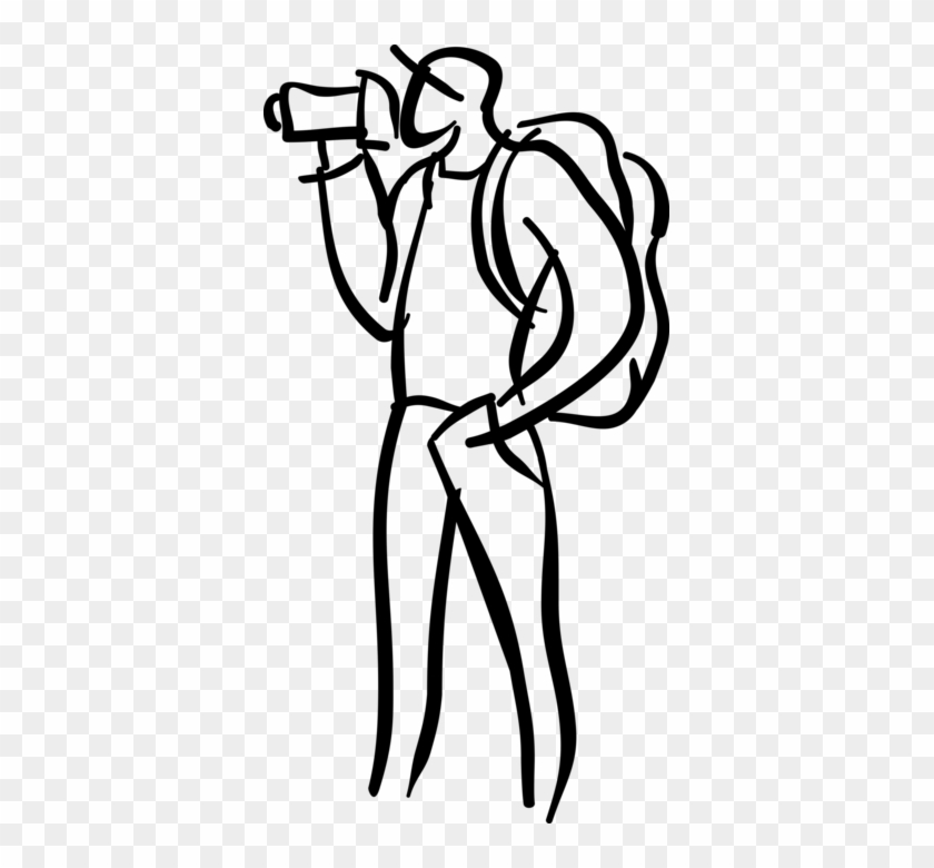 Vector Illustration Of Tourist Filming With Videocamera - Line Art #681297