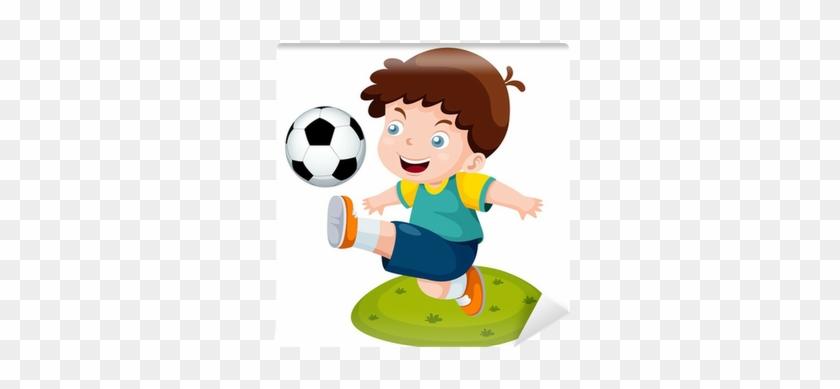 Illustration Of Cartoon Boy Playing Soccer Wall Mural - Imagenes De Cultura Fisica Animadas #684957