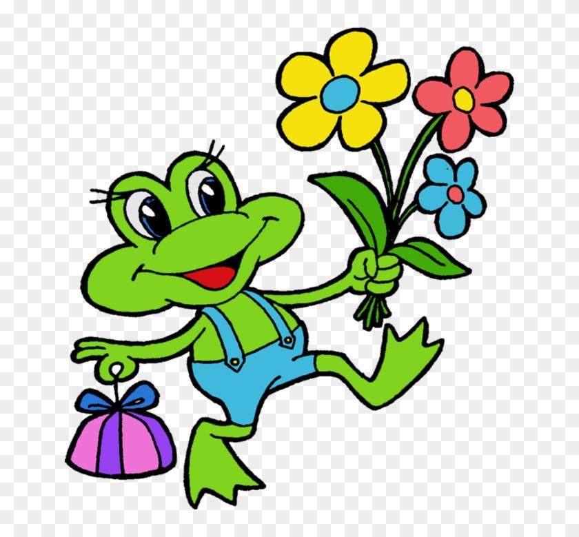 Cartoon Filii Clipart - Cartoon Frog Holding Flowers #689746