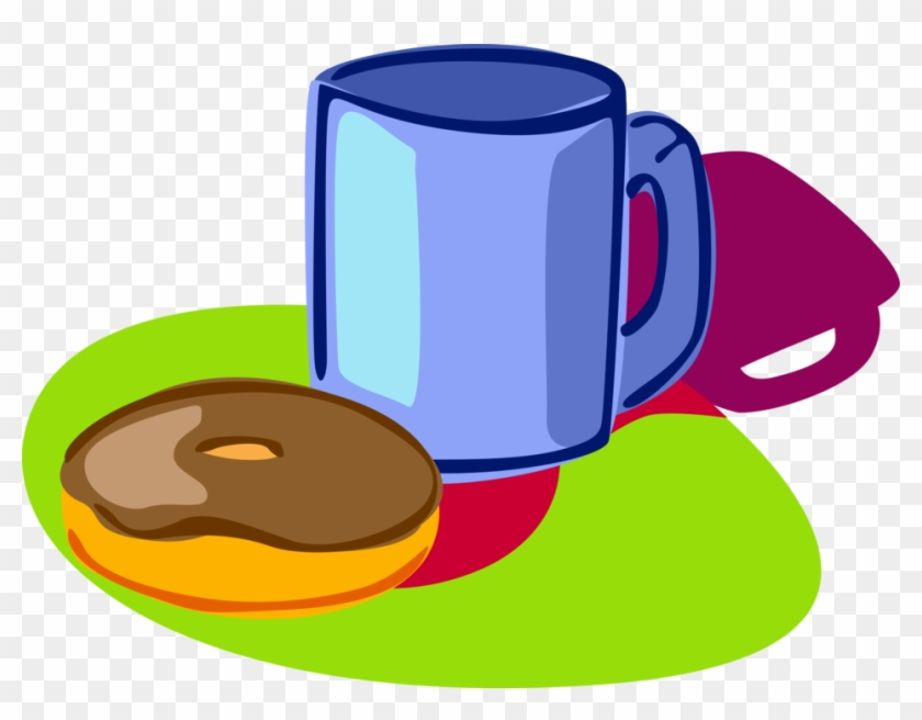 Vector Illustration Of Morning Cup Of Coffee And Chocolate Doughnut Free Transparent Png Clipart Images Download