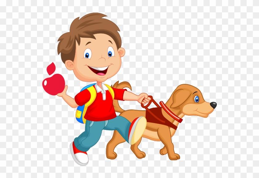 cartoon of child walking with guide dog kid walking dog cartoon