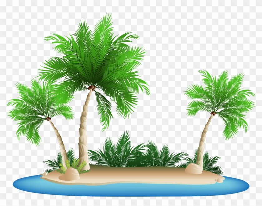 28 Collection Of Island Clipart Transparent Background - Palm Tree Beach Clipart #692996