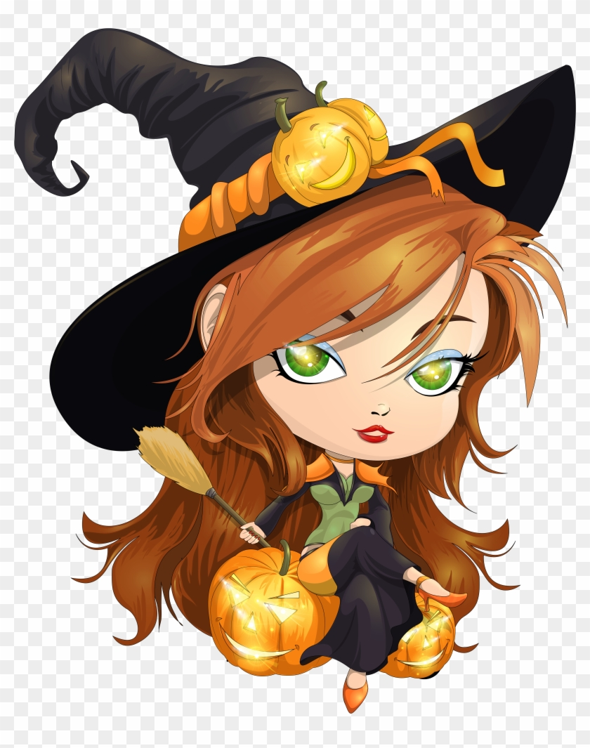 halloween ghosts - cute witch clipart - free transparent png clipart