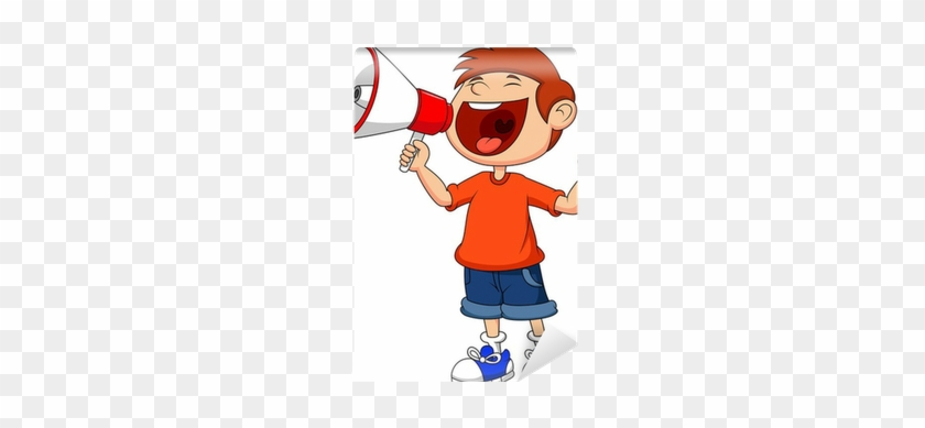 Cartoon Boy Yelling And Shouting Into A Megaphone Wall - Kids Yelling Clipart #694316