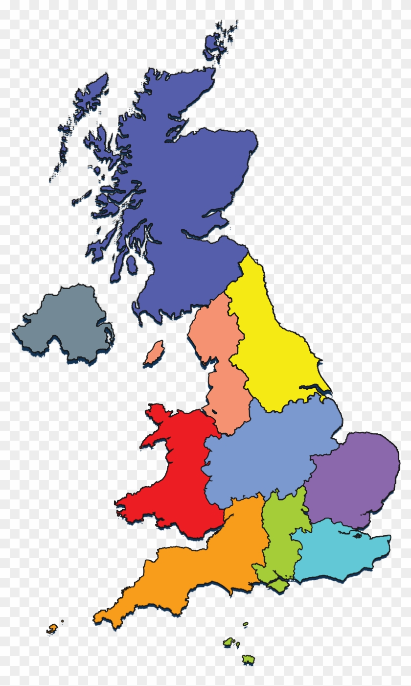 Rya Regions & Home Countries - Uk Region Outline Map - Free ...