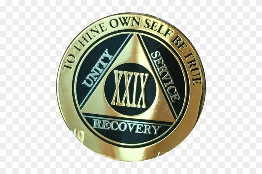 Aa Medallion Elegant Black Gold & Silver Plated Years - 4 Year Aa Medallion Reflex Blue Gold Plated Sobriety #696298