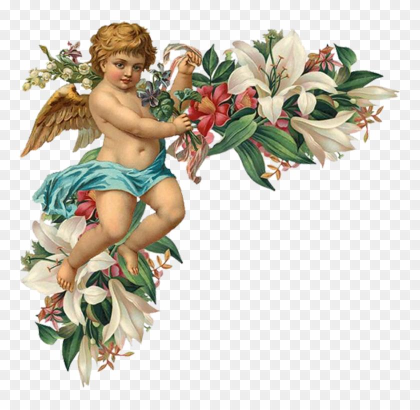 Engel Auf Blumenranken - Esquineras Con Flores Y Angelitos Para Marcos #696778