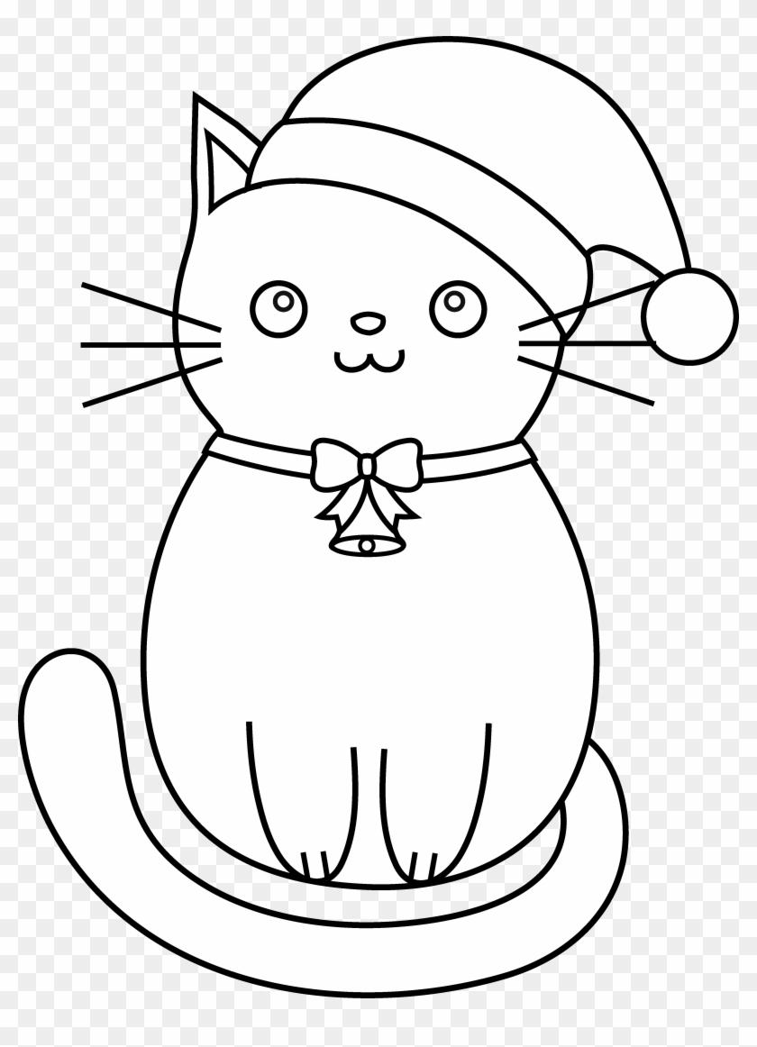 Cat Clipart Line Art - Christmas Kittens Coloring Pages #696957