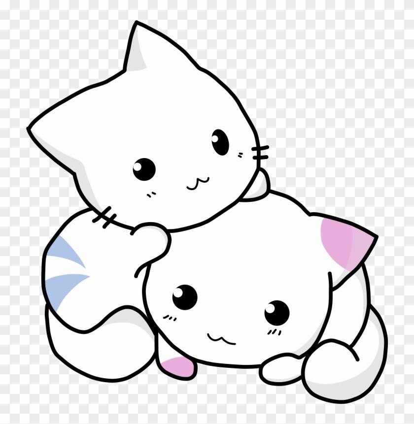 Cuddling Cat Kitten Feline Cute Adorable Cute Cartoon Cat
