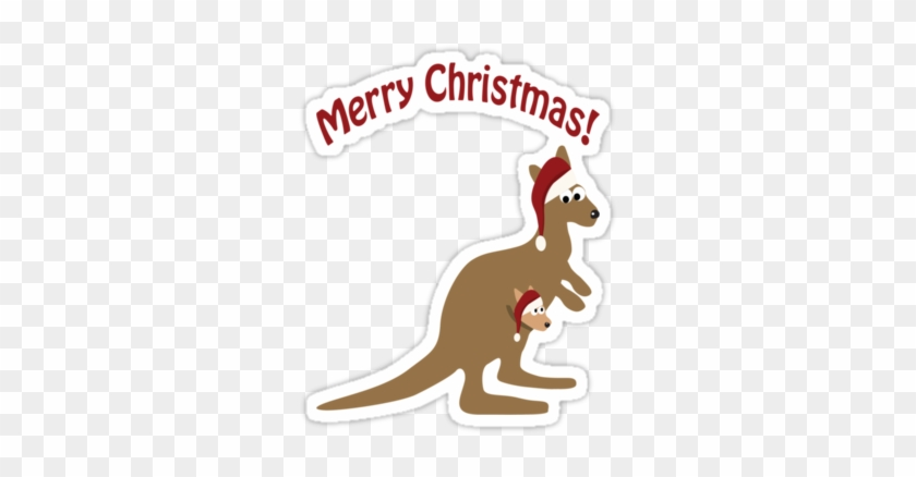 Merry Christmas Kangaroo By Eggtooth - Personalizable Merry Christmas Ornament (round) #699631