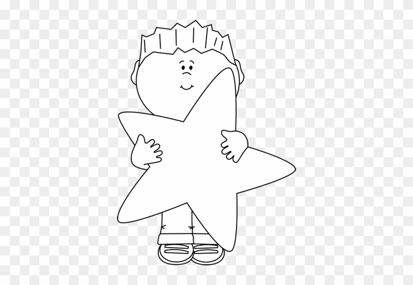 Black And White Little Boy Holding A Big Star - Boy Holding Clipart Black And White #700112