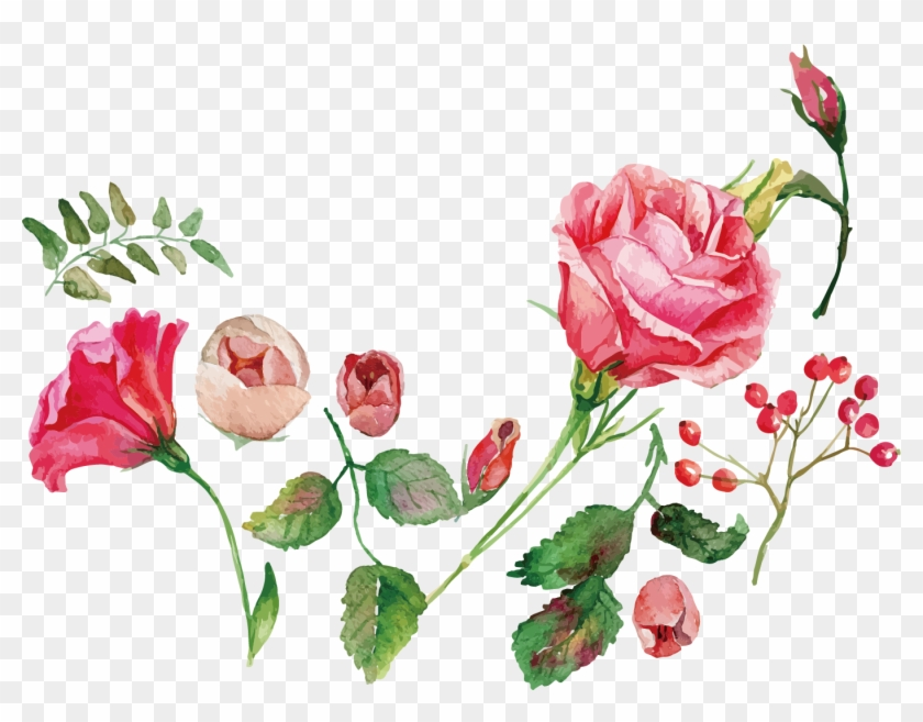 Watercolor Painting Flower Rose Royalty-free - Watercolor Flowers Vector Free Download #701247