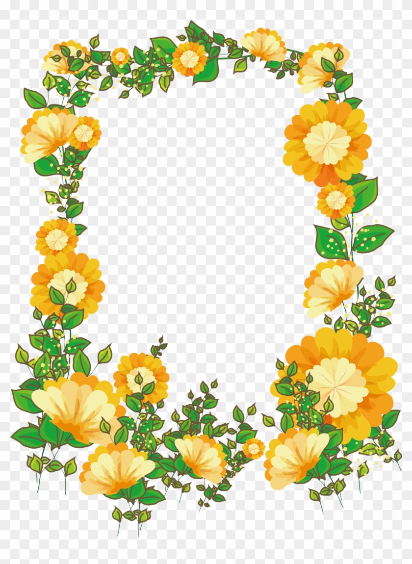 Picture Frame Floral Design Flower Borders Designs Flower