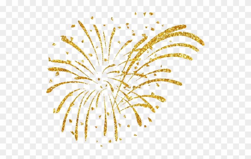 Happy New Year Fireworks Clipart - Gold Fireworks White Background #703524