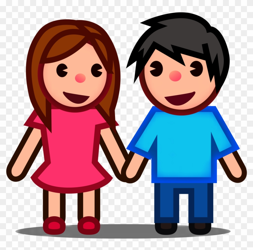 Holding Hands Child Silhouette Clip Art - Boy And Girl Silhouette Png,  Transparent Png - kindpng