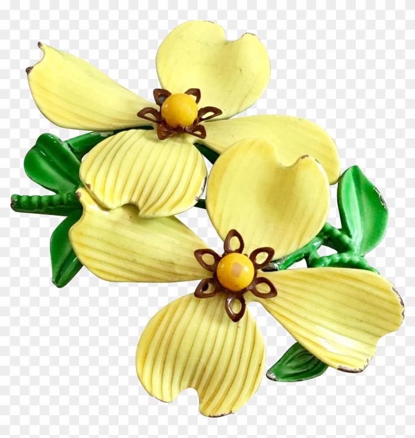Retro Enamel Flower Brooch In Bright Yellow, Circa - Artificial Flower #703937