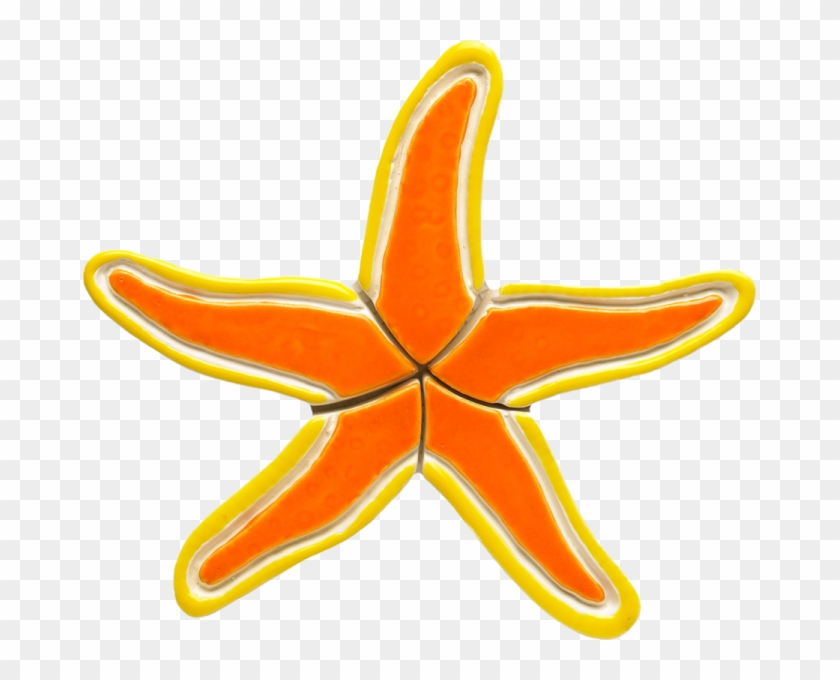 "Os36-7 7""x6"" Orange Starfish Ceramic Pool Mosaic - Starfish #704596"