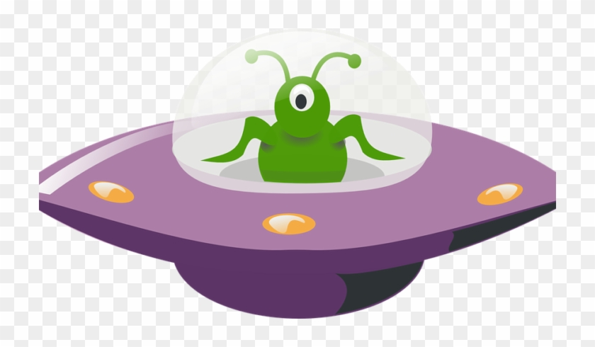 An Alien Piloting A Flying Saucer - Ufo Clipart #705686