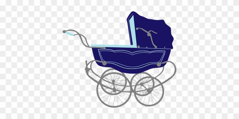 Baby Blue Carriage Infant Pram Stroller Tr - Baby Stroller Png #709442