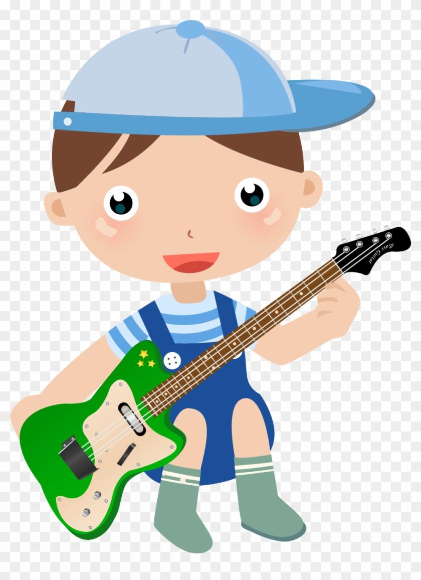 Child Cartoon Clip Art Desenho Menino Tocando Guitarra Free