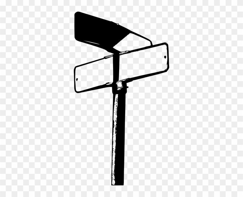 Clipart Crossroads Signs - Black And White Street Sign Png #711518