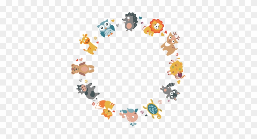 Kids Animal Circle Wall Sticker - Frame Powerpoint Template #712043