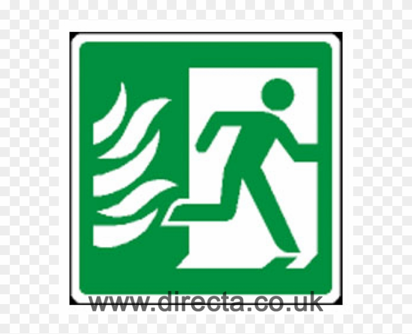 Fire Exit Sign Man Running Right With Flame Symbol Fire Exit Sign
