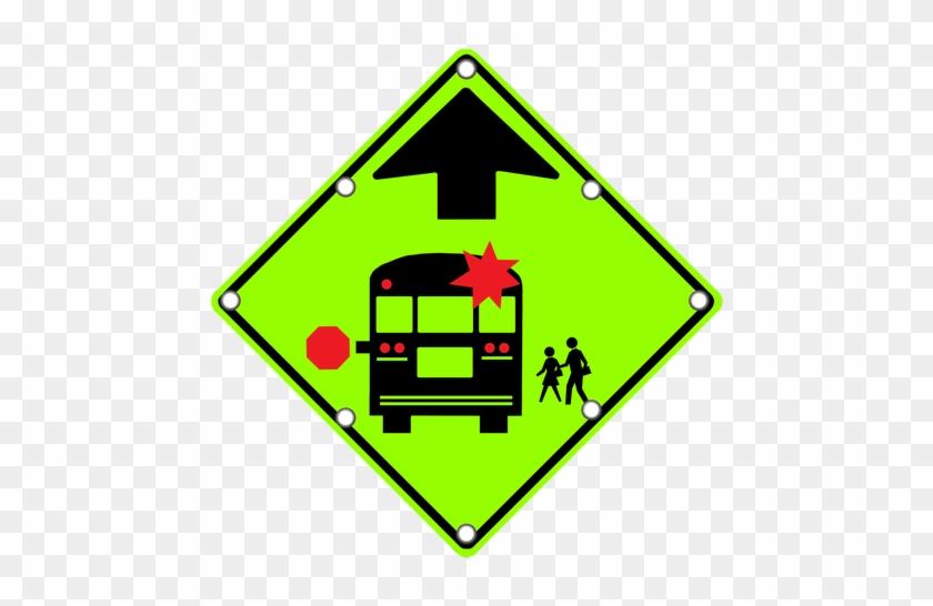 S3-1 School Bus Stop Ahead - Stop For School Bus Sign #713140