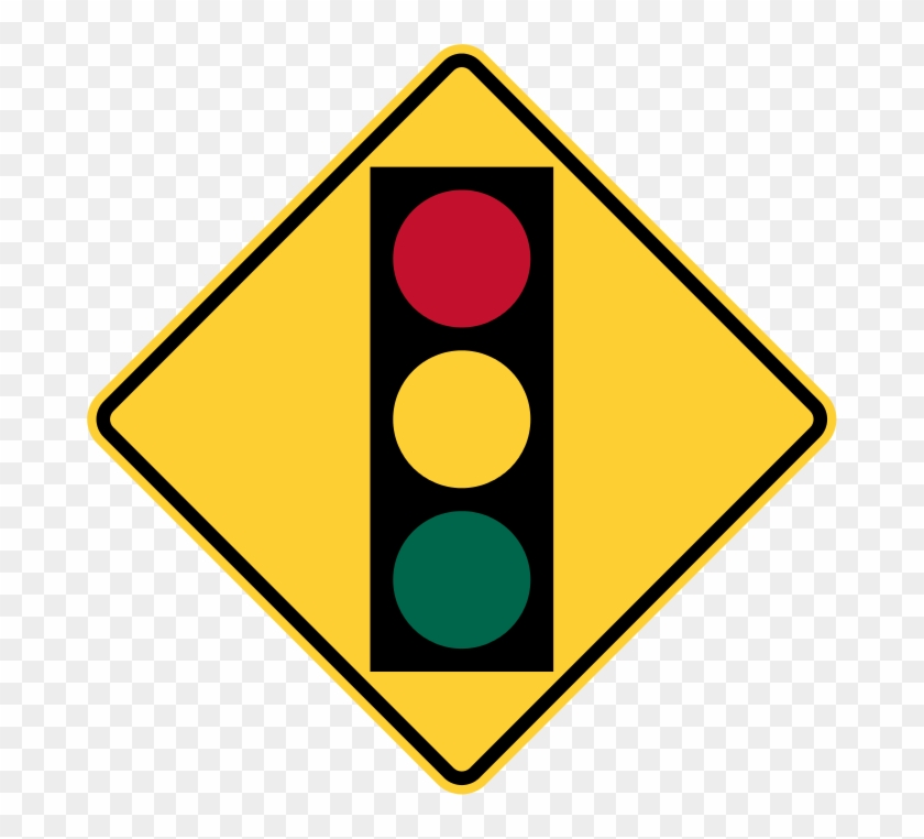 Warns The Driver Of An Upcomming Traffic Light - Traffic Light Road Sign #714437
