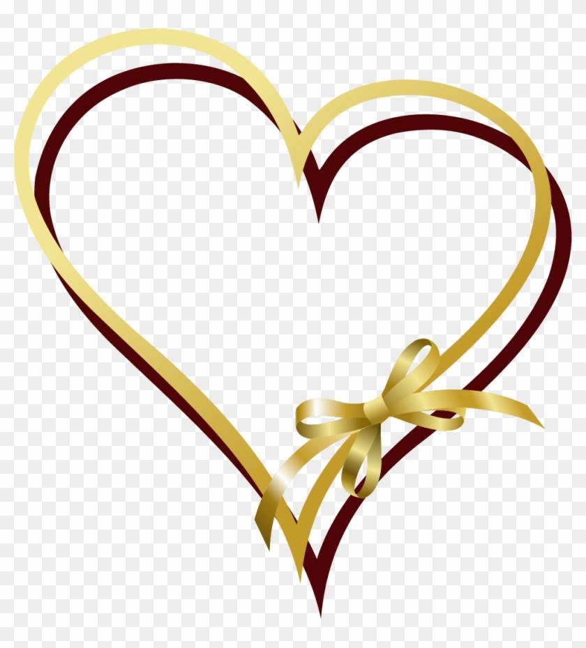 Ribbon Gold Clip Art - Heart Gold Vector Png #715697