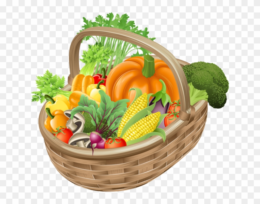 Vegetables Clipart Day - Basket Of Fruits And Vegetables Clipart #717185