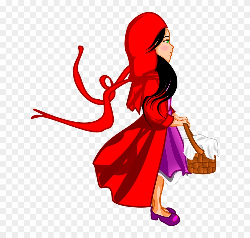 Kid Little Red Riding Hood, Fairytale, Cap, Basket, - Clipart Red Riding Hood #718916