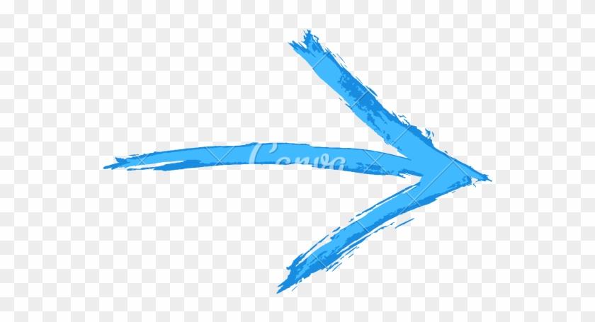 Drawn Arrow Blue - Brush Stroke Arrows Png #721140