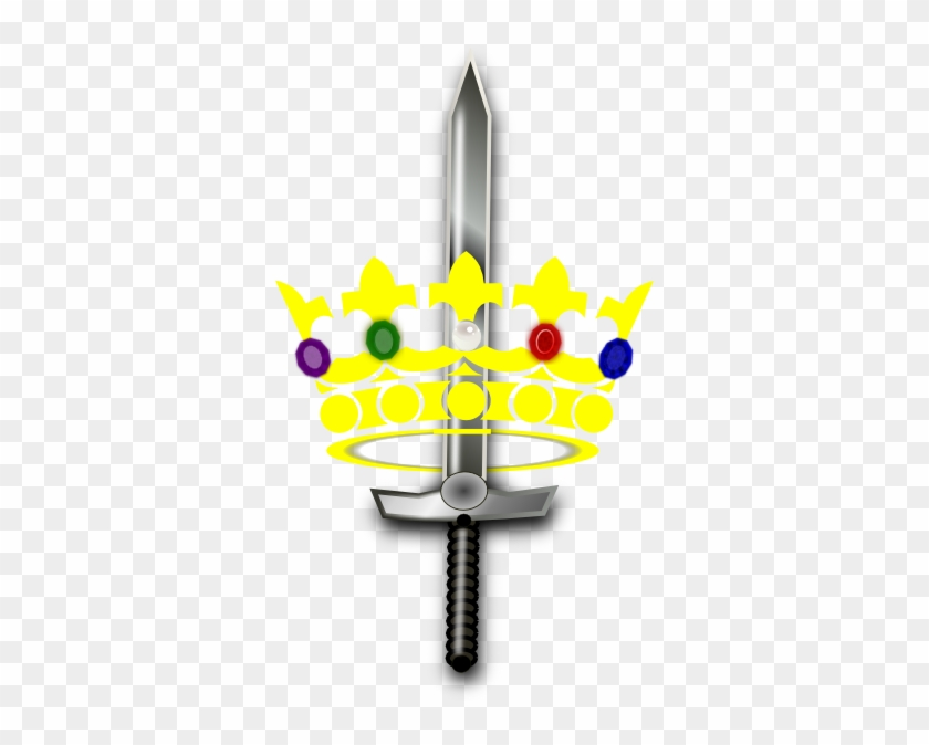 Jeweled Crown With Sword Clip Art - Crown And Sword Clipart #130074
