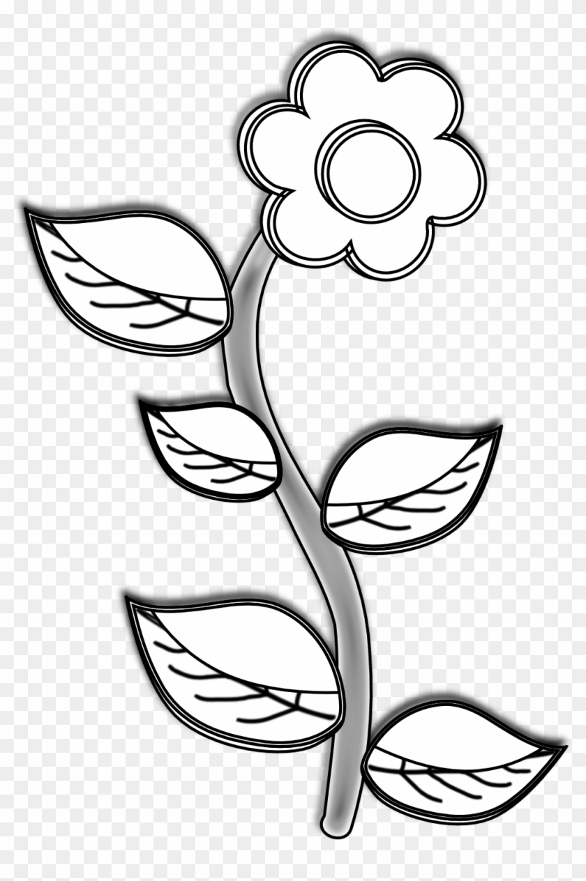 Black - Plant With Flower Drawing #130360