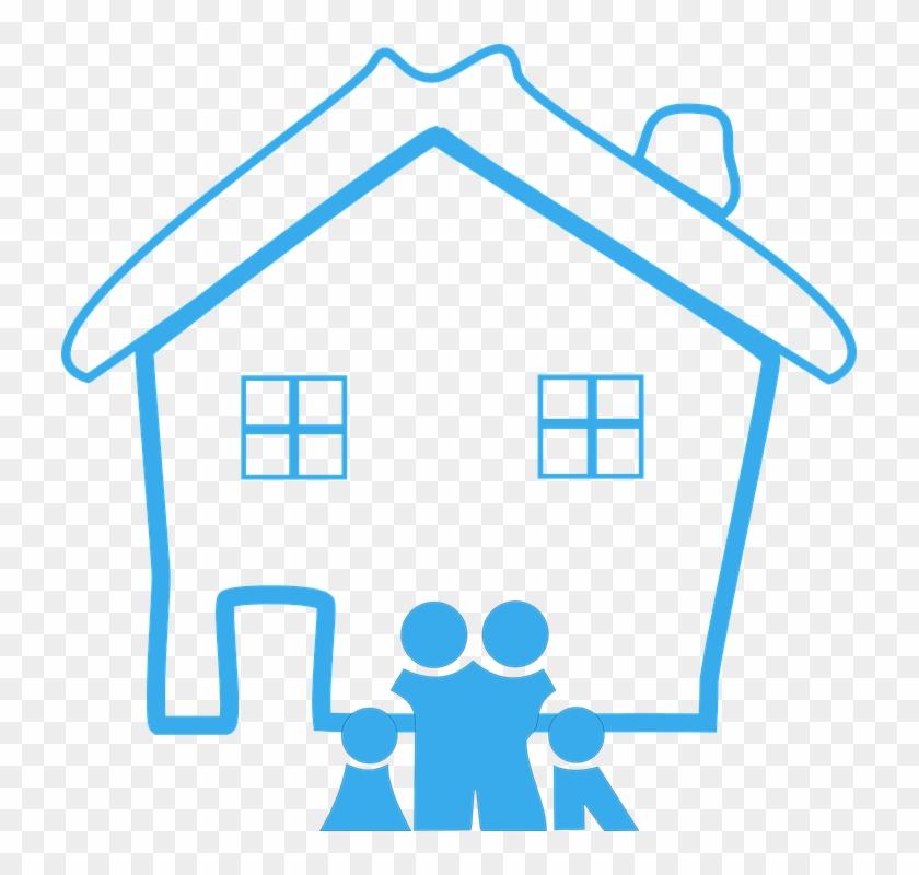 Home Family House Design Happy Blue Pictogram - Family Clip Art #132183