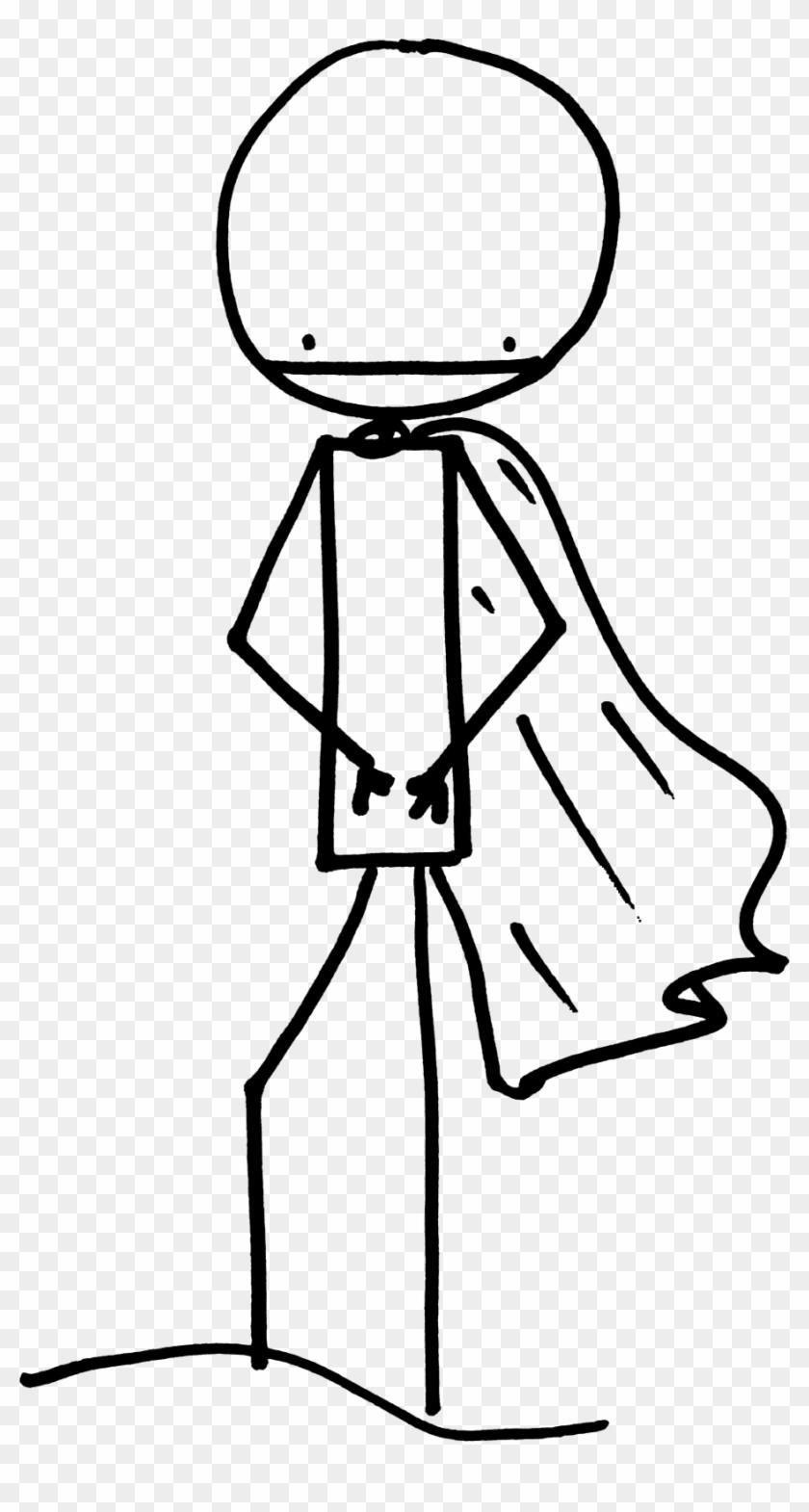 Stick Man With Cape - Stick Figure With Cape #132411