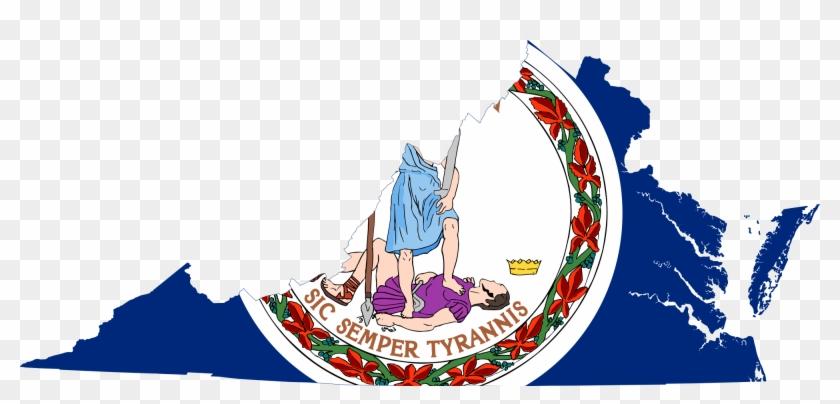 Flag Map Of Virginia Clip Art - Virginia State Flag Colors #132804